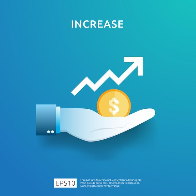 Gráfico de negócios na mão. aumento da taxa salarial de renda. receita de margem de crescimento gráfico. Vetor Premium