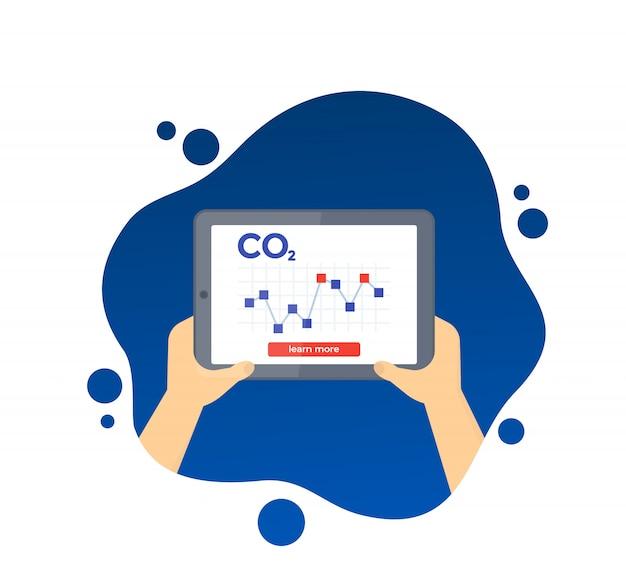 Gráfico de níveis de emissões de carbono na tela do tablet, Vetor Premium