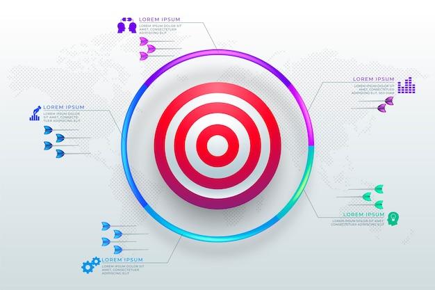 Gráfico de objetivos com elementos diferentes Vetor grátis
