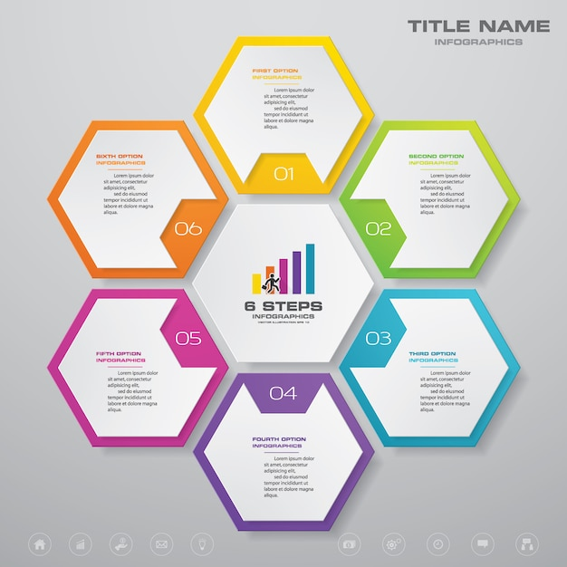 Gráfico de processo simples e editável de 6 etapas. eps 10 Vetor Premium