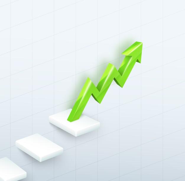Gráfico de seta verde 3d com etapas em branco Vetor grátis