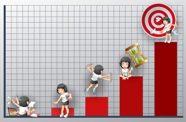 Gráfico de sucesso com 5 personagens diferentes. Vetor Premium