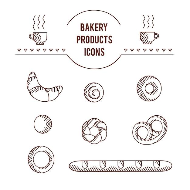 Gráfico de vetor beautifull original ícone conjunto de produtos de padaria Vetor Premium