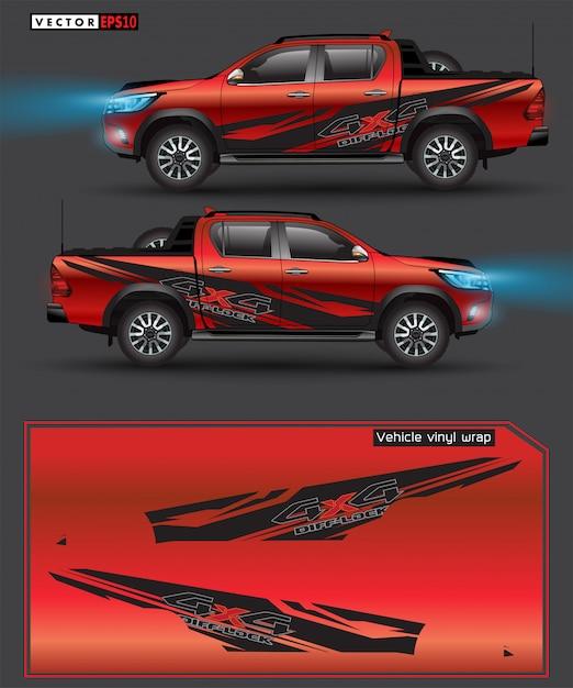 Gráfico do caminhão e do carro da movimentação de 4 rodas. linhas abstratas com design de fundo preto para envoltório de vinil de veículo Vetor Premium