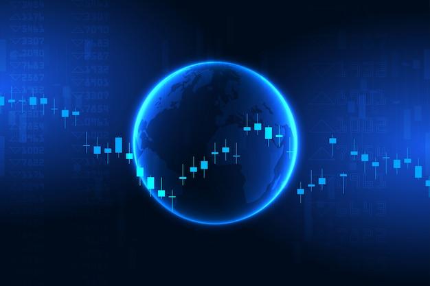 Gráfico do mercado de ações ou gráfico de negociação forex para conceitos comerciais e financeiros Vetor Premium