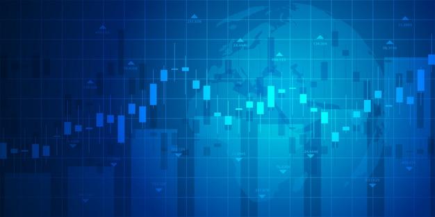 Gráfico do mercado de ações ou gráfico de negociação forex para conceitos de negócios e financeiros Vetor Premium