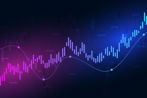 Gráfico do mercado de ações ou gráfico de negociação forex para negócios Vetor Premium