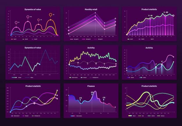Gráficos de dados abstratos. gráficos estatísticos, gráfico de linhas de finanças e marketing infográfico gráfico infográfico conjunto Vetor Premium