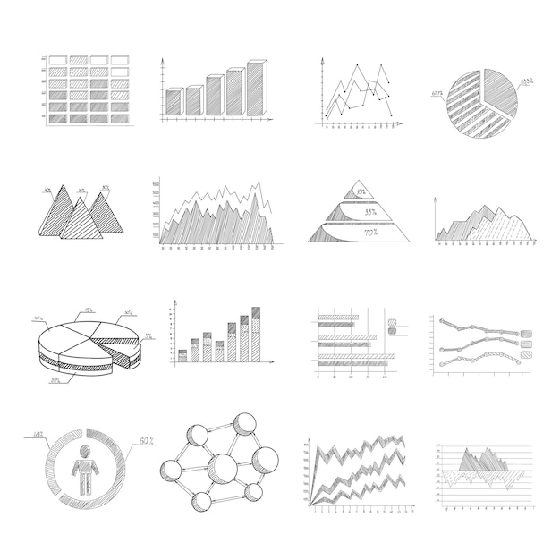 Gráficos de diagramas de esboço e infográfico conjunto de elementos Vetor grátis