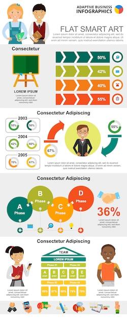 Gráficos de educação e marketing definidos Vetor grátis