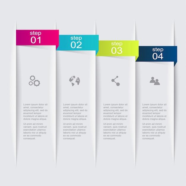 Gráficos de informação coloridos para suas apresentações de negócios. Vetor Premium