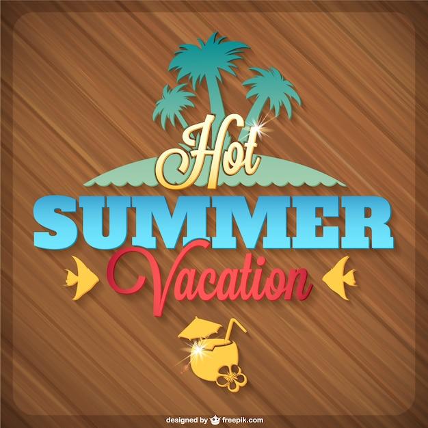 Gráficos verão tropical ilha de vetores Vetor Premium