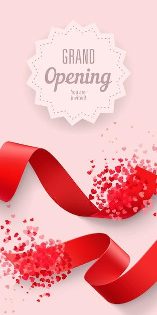 Grand opening você está convidado a rotular com fitas e corações Vetor grátis