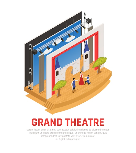 Grand theatre isométrico Vetor grátis