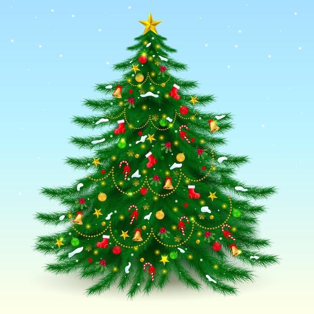 Grande árvore de natal decorada merry xmas Vetor Premium