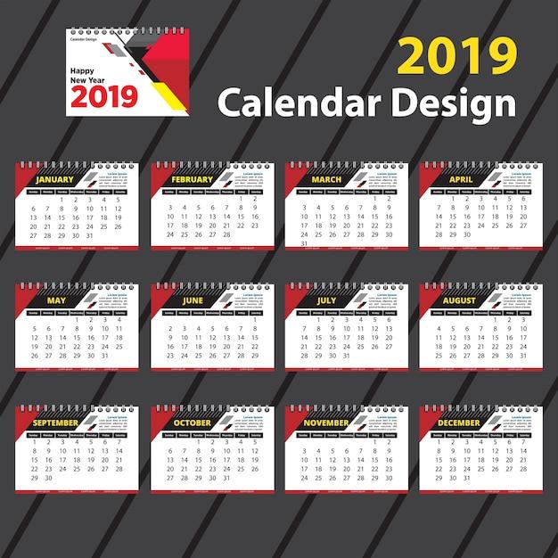 Grande calendário 2019 modelo de design Vetor Premium