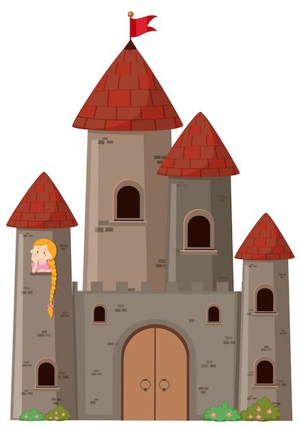 Grande castelo com princesa Vetor grátis
