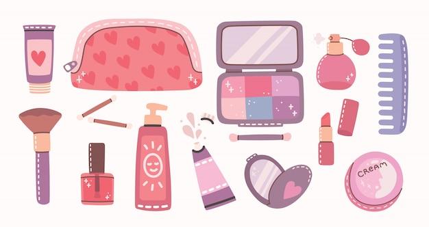 Grande colagem de cosméticos e produtos de cuidados do corpo para maquiagem. batom, loção, pente, pó, perfumes, pincel, esmalte. ilustração moderna em estilo simples. Vetor Premium