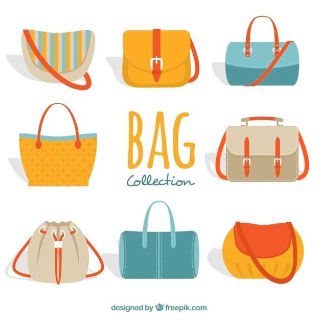 Grande coleção de bolsas da mulher colorida Vetor Premium