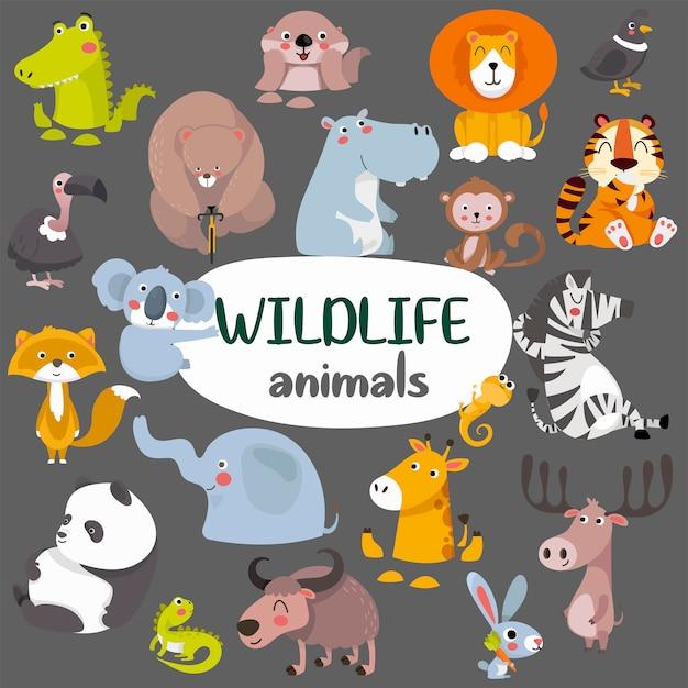 Grande coleção de coleção de animais fofos da selva selvagem. Vetor Premium