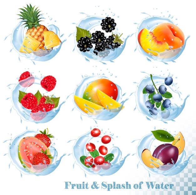Grande coleção de frutas em um ícones de respingo de água. abacaxi, manga, pêssego, goiaba, mirtilo, ameixas, morango, amora, framboesa, amora. conjunto Vetor Premium