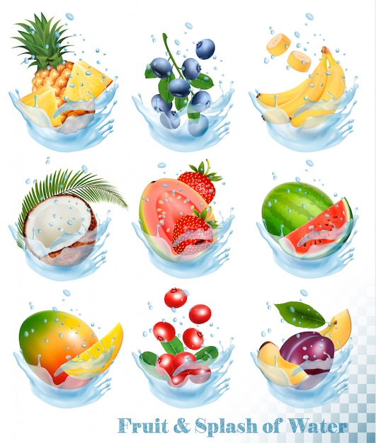 Grande coleção de frutas em um respingo de água. abacaxi, manga, banana, pera, melancia, mirtilo, goiaba, morango, coco, grawberry, framboesa. conjunto Vetor Premium