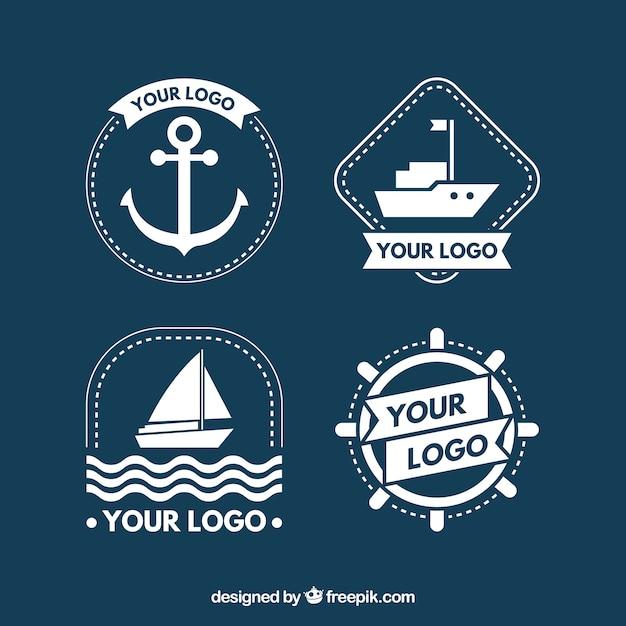 Grande coleção de logotipos de barco branco Vetor Premium