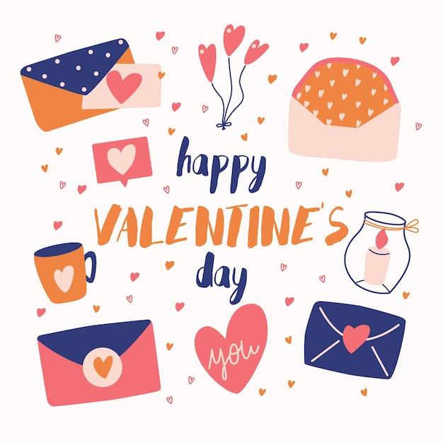 Grande coleção de objetos de amor e símbolos para feliz dia dos namorados. ilustração plana colorida. Vetor Premium