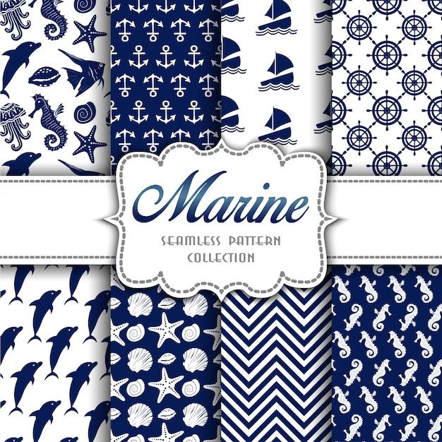 Grande coleção de padrões sem emenda com elementos marinhos Vetor Premium