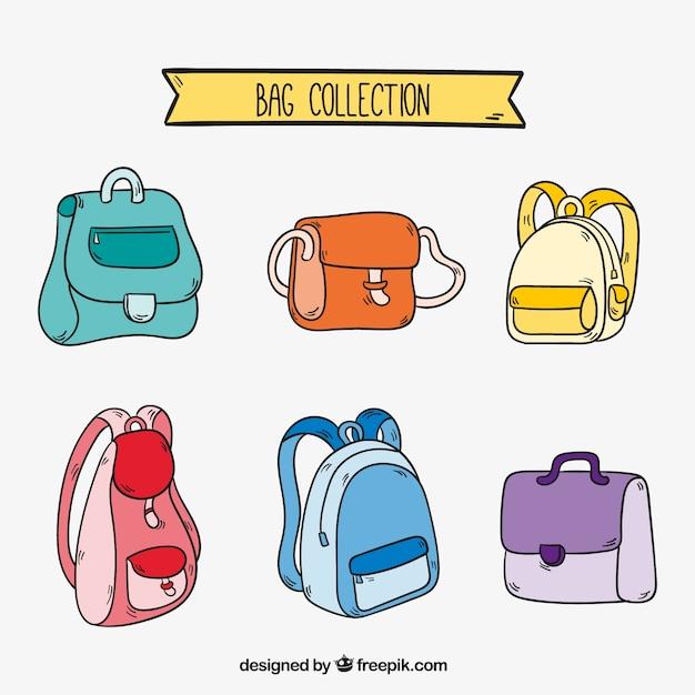 Grande colecção de diferentes tipos de mochilas Vetor grátis
