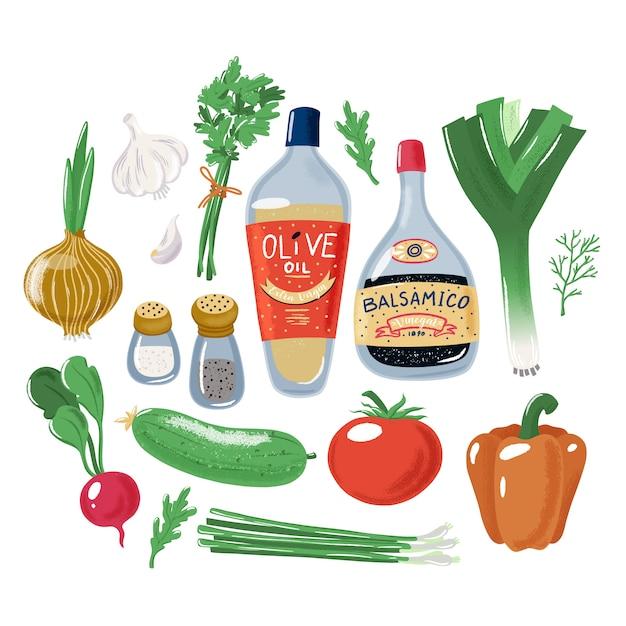 Grande conjunto coleção de ingredientes de salada de vegetais Vetor Premium