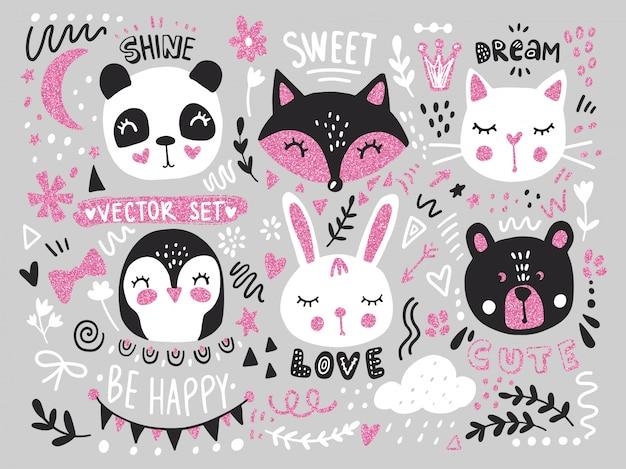 Grande conjunto com animais bonito dos desenhos animados urso, panda, coelho, pinguim, gato, raposa Vetor Premium