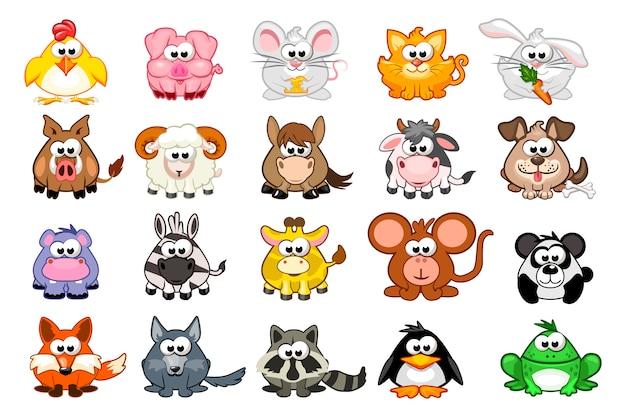 Grande conjunto de animais bonito dos desenhos animados Vetor Premium