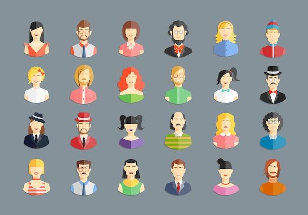 Grande conjunto de avatares de vetor. ícones de homens e mulheres, jovens e meninas Vetor grátis