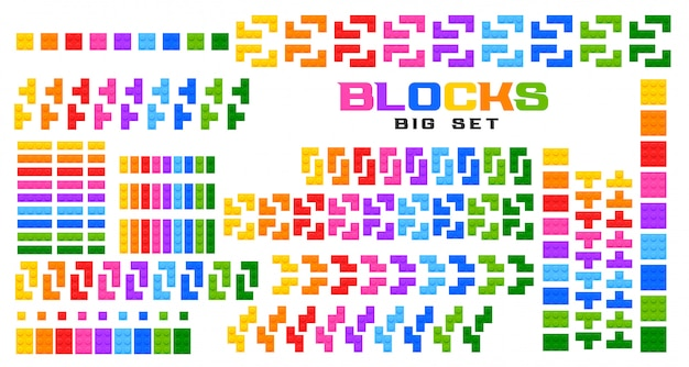 Grande conjunto de blocos de brinquedo em muitas cores Vetor grátis