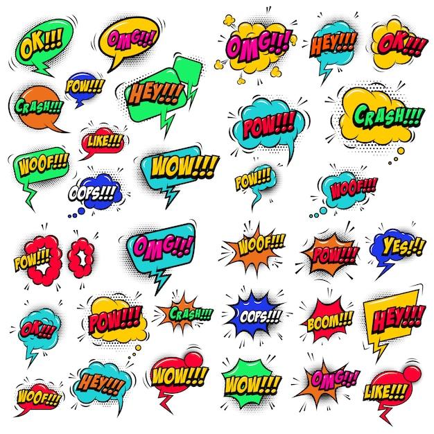 Grande conjunto de bolhas do discurso estilo cômico com efeitos sonoros de texto. elementos para cartaz, camiseta, banner. imagem Vetor Premium