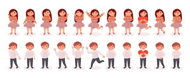 Grande conjunto de caracteres de menina e meninos. ilustração colorida dos desenhos animados plana. Vetor Premium
