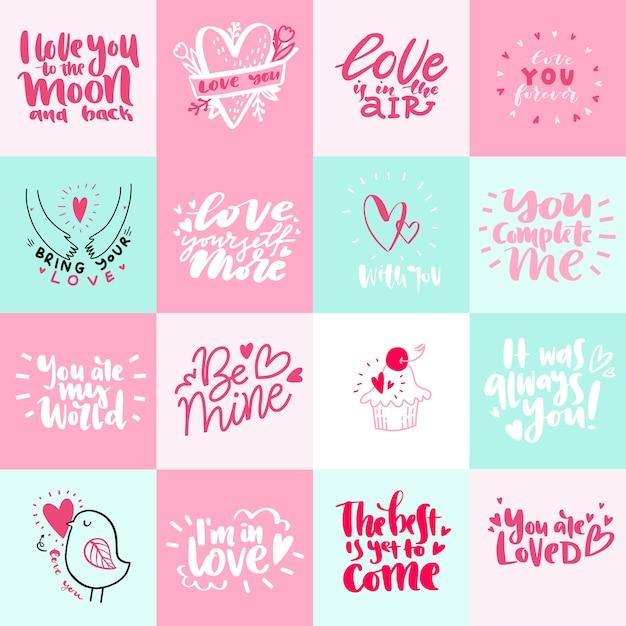 Grande conjunto de cartão romântico dia dos namorados Vetor Premium
