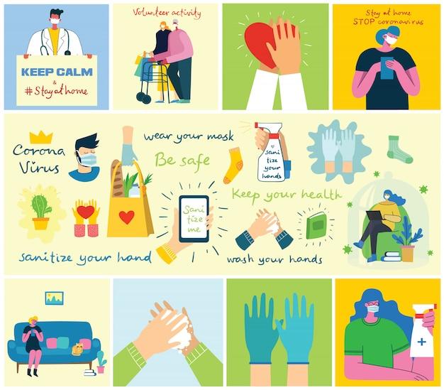 Grande conjunto de cartazes lava as mãos, higiene, médicos, mãos nas luvas, fica em casa e cuidados de saúde. proteger contra o conceito de vírus. ilustrações modernas em estilo moderno simples. Vetor Premium