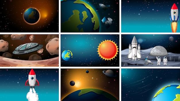 Grande conjunto de cenas de espaço ou plano de fundo ou plano de fundo Vetor grátis