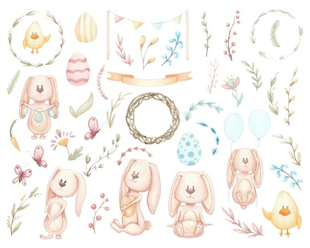 Grande conjunto de coelhos da páscoa e elementos. ilustrações em aquarela de flores, grinaldas e assunto de páscoa Vetor Premium