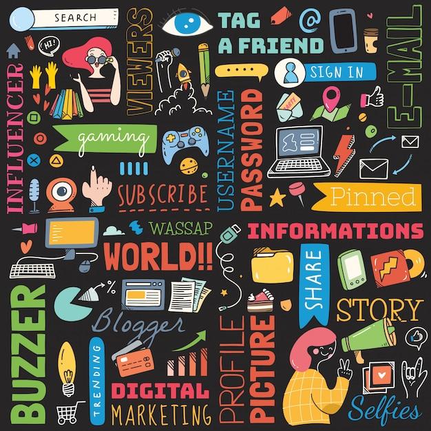 Grande conjunto de doodle de plano de fundo de mídia social Vetor Premium