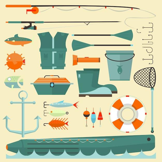Grande conjunto de elementos de pesca Vetor Premium