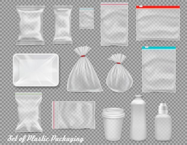 Grande conjunto de embalagens plásticas de polipropileno - sacos, bandeja, copo em fundo transparente. ilustração Vetor Premium