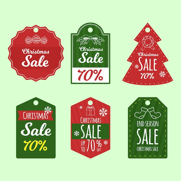 Grande conjunto de etiquetas de natal de férias de mão desenhada Vetor grátis
