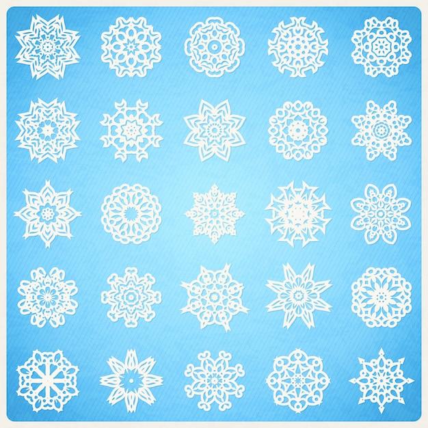 Grande conjunto de flocos de neve como mandalas Vetor Premium