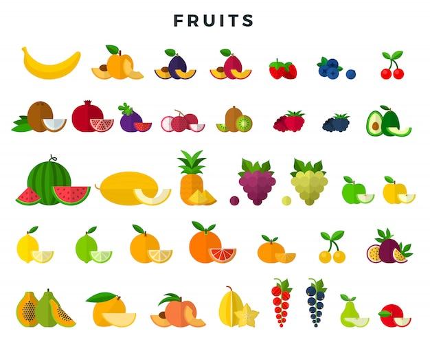 Grande conjunto de frutas e bagas, inteiras e fatias. coleção de ícones de frutas. ilustração vetorial em estilo simples. Vetor Premium