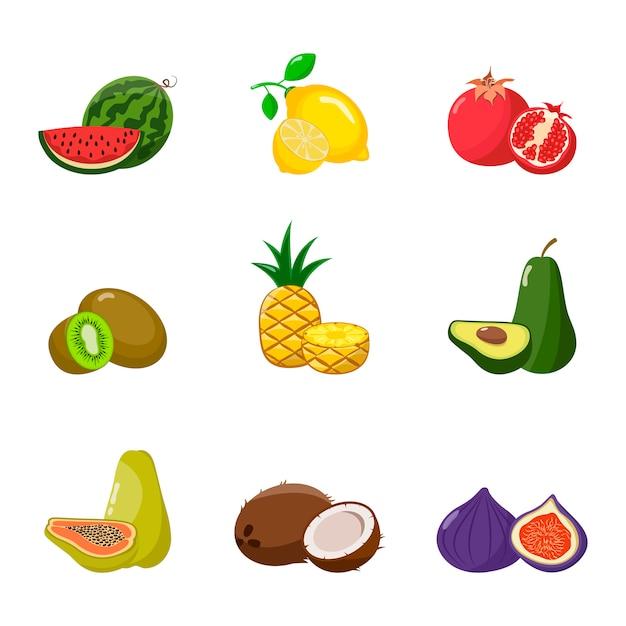 Grande conjunto de frutas. Vetor Premium