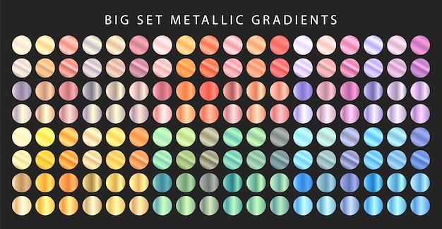Grande conjunto de gradientes metálicos. conjunto de metal de cor diferente. Vetor Premium