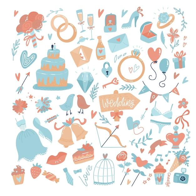 Grande conjunto de ícones para o dia do casamento, dia dos namorados ou amor e eventos românticos. ilustração vetorial plana Vetor Premium